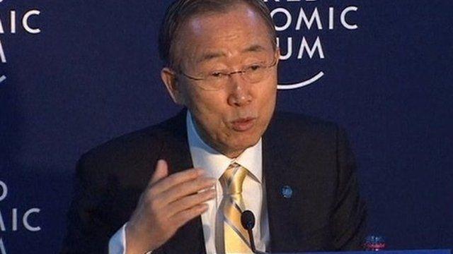 UN Secretary General Ban Ki-moon speaking from Davos