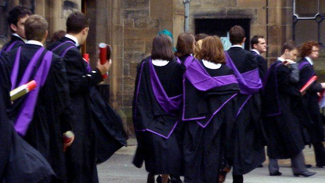 University students wearing graduation gowns