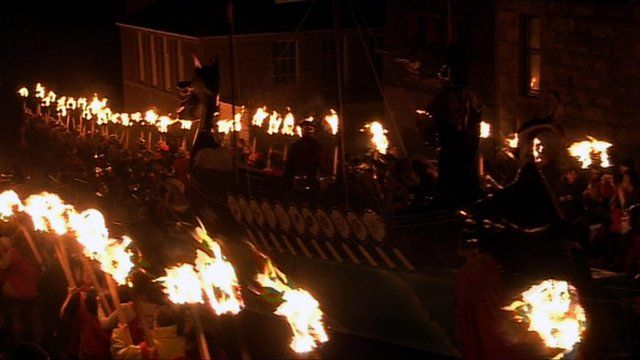 Viking longboat procession during Up Helly Aa