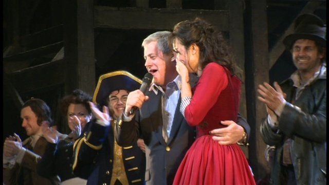 Cameron Mackintosh and Samantha Barks on stage