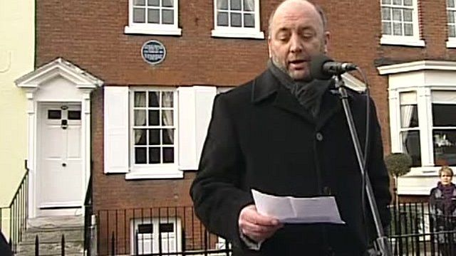 Ian Dickens, great great grandson of Charles Dickens, outside the author's birthplace