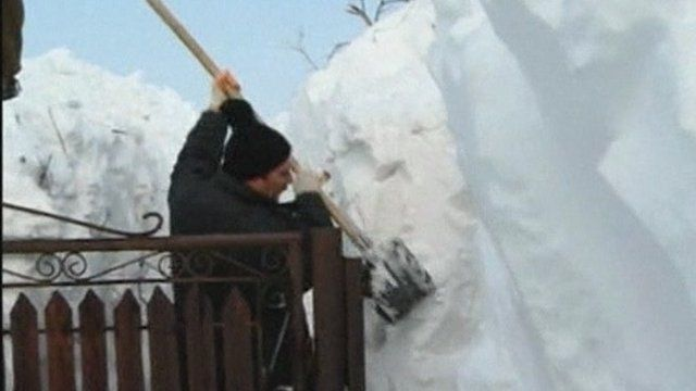 Man digs through snow