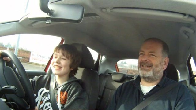 Young person learning to drive