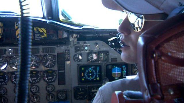 Australian navy pilot surveys Indian Ocean