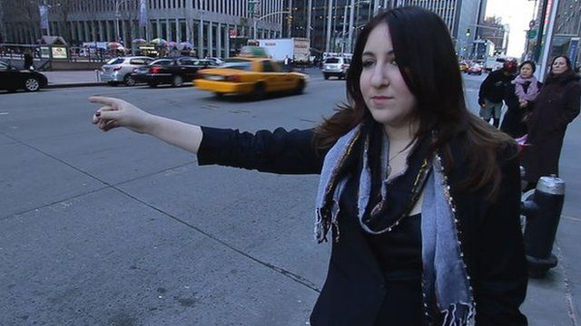 Deborah Feldman hailing a taxi