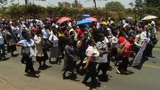 Public health workers on protest march in Kenya