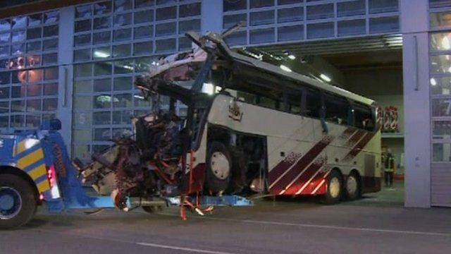 Coach damaged in accident