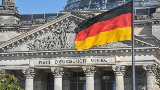 The German flag flying in front of the Reichstag
