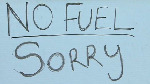 """A sign saying """"no fuel sorry"""""""