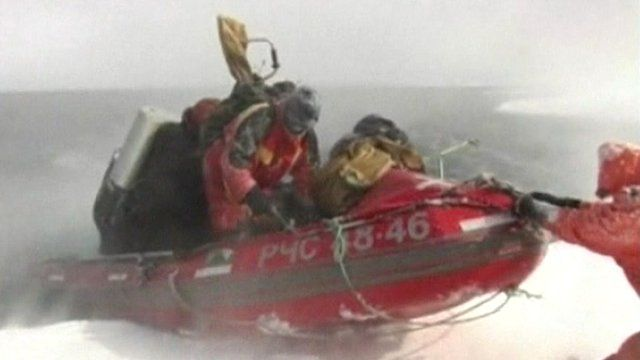 The rescue of stranded Russian fishermen off the coast of Sakhalin Island