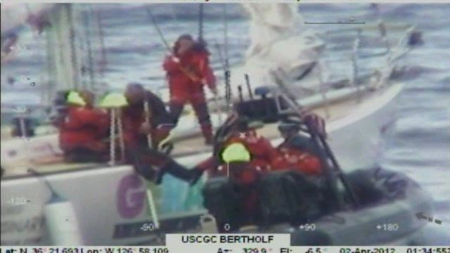 Two of the crew are rescued by the coastguard