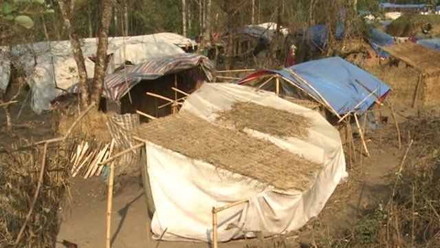Temporary housing in a Kachin camp