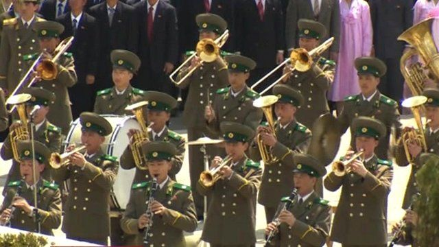 Military band playing in first celebrations