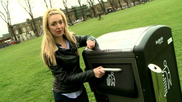 Hayley checking out a new solar bin