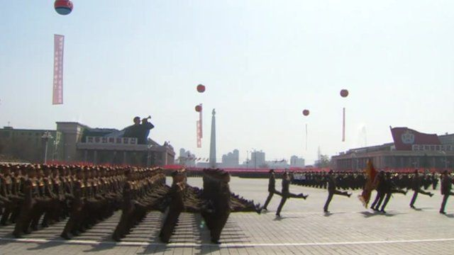 Soldiers goose step through North Korea