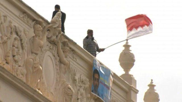 Protesters on Bahraini Embassy, London