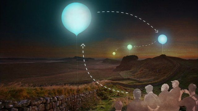 An artists impression of the balloons along Hadrian's Wall