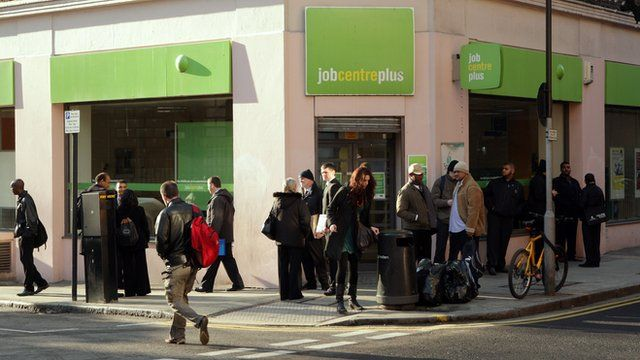 Queues outside a job centre in the UK