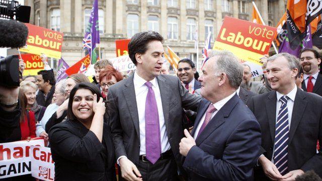 Ed Miliband congratulates leader of the Labour group Albert Bore