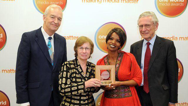 Jon Snow, Carmela Green Abate, Adanech Admassu and Lord Fowler at the One World Media Awards