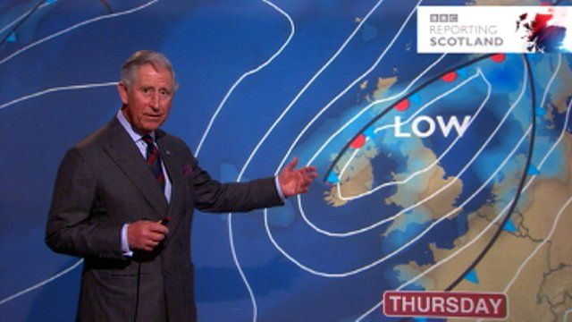 prince charles presents the weather at bbc scotland