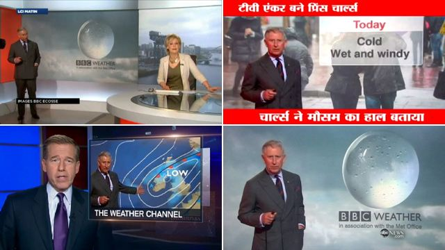 Prince Charles reading the weather was covered by TV stations around the world