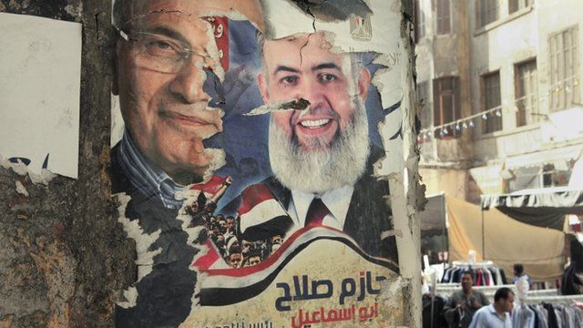 A defaced poster of presidential candidates in Cairo, Egypt