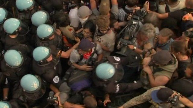 Protesters pushed back at police during the NATO summit in Chicago 20 May 2012