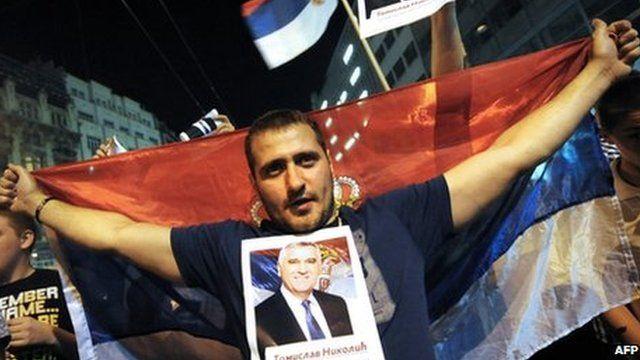 Supporter of Tomislav Nikolic in Belgrade