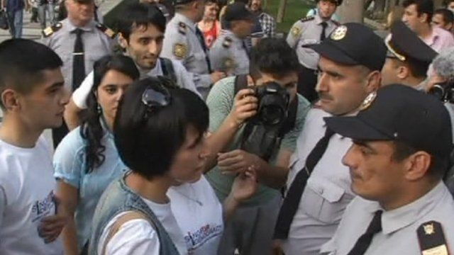 Protesters in Baku