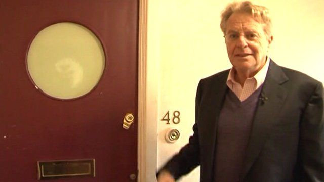 Chat show host, Jerry Springer, outside his old flat in Highgate