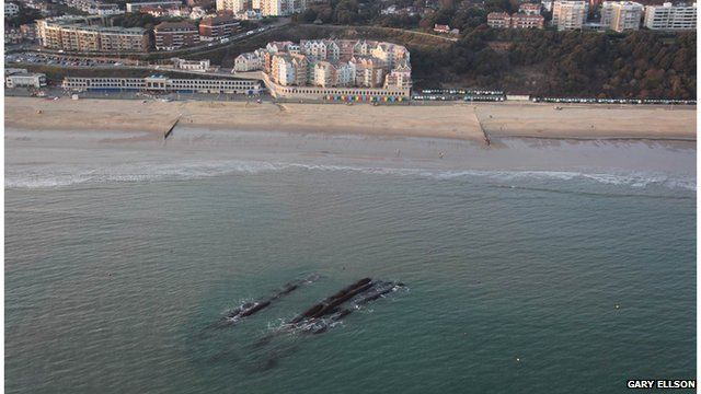 An aerial photograph of Boscombe surf reef