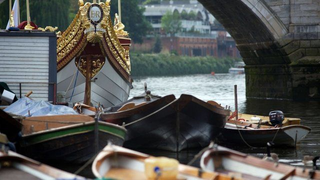 """The Queen""""s rowbarge 'Gloriana' that will head a section of the Thames Diamond Jubilee River Pageant"""