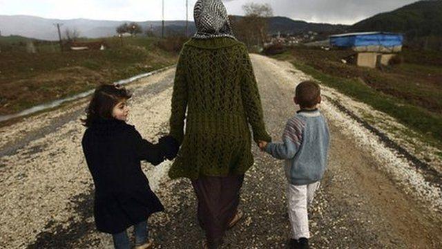 Syrian refugees near Turkish-Syrian border (file image)