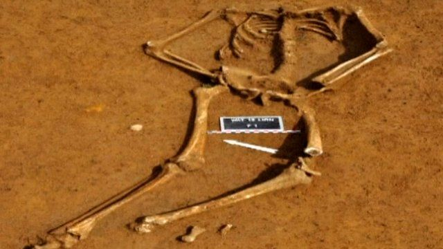 Unearthed skeleton in Belgium,