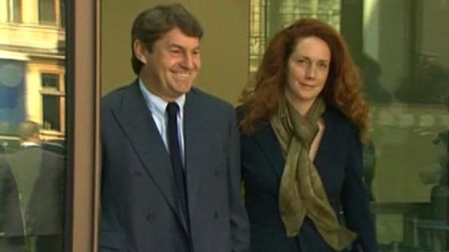 Charlie and Rebekah Brooks leaving Westminster Magistrates Court