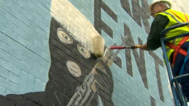 Mural being painted over in Belfast
