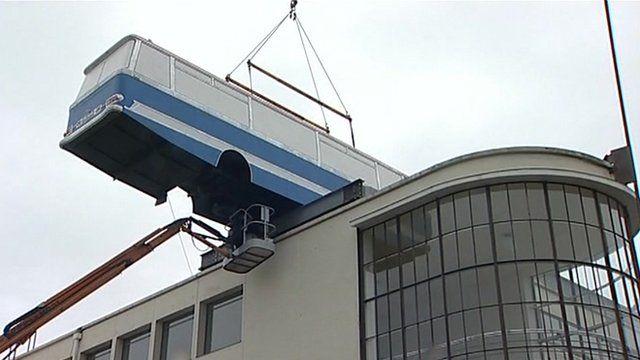 Bus on top of De La Warr Pavilion