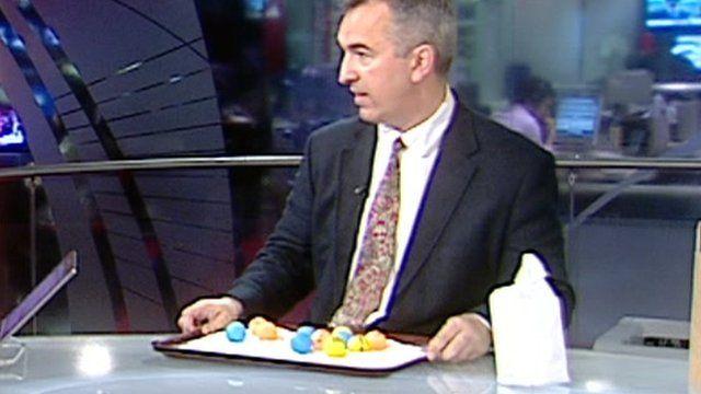 Jonathan Amos with tray of ping pong balls