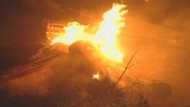 A fire from an Ohio train derailment