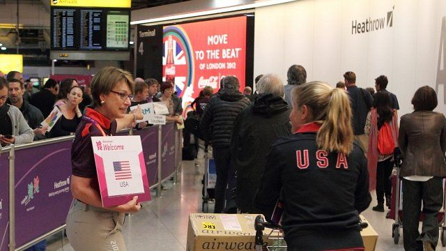 Athletes arrive for Olympic games at Heathrow