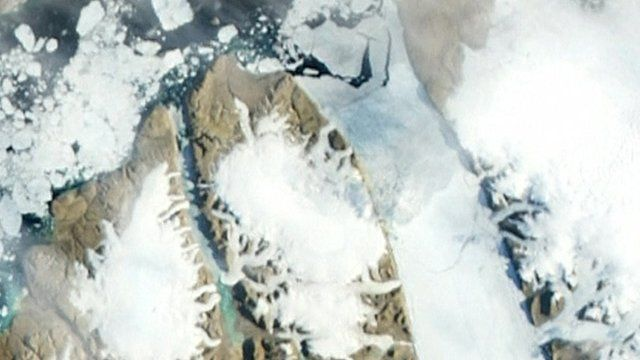 Satellite image of the Petermann Glacier
