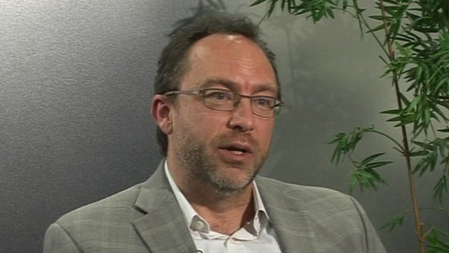 Wikipedia founder Jimmy Wales speaking to the BBC
