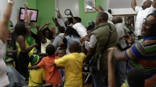 Jamaican fans in London celebrate