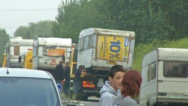 Caravans towed away in France