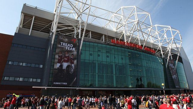 Fans gathering outside Old Trafford