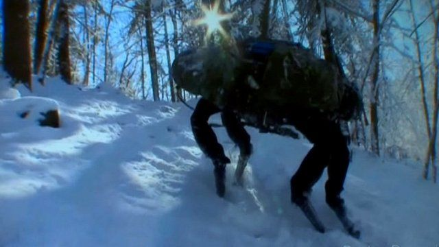 Robot horse climbs snowy slope