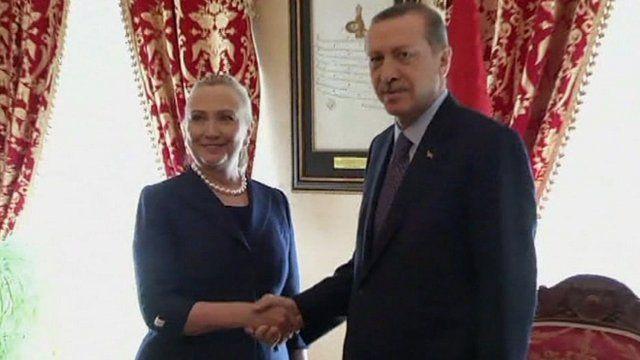 Hillary Clinton and Turkey's Prime Minister Recep Tayyip Erdogan
