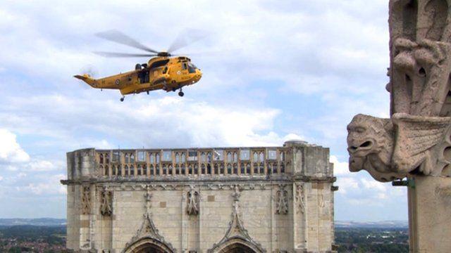 RAF helicopter hovering over York Minster