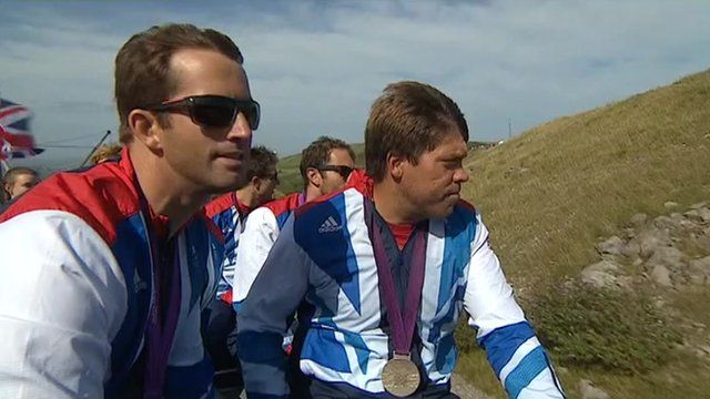 Ben Ainslie with the other GB Olympic sailors